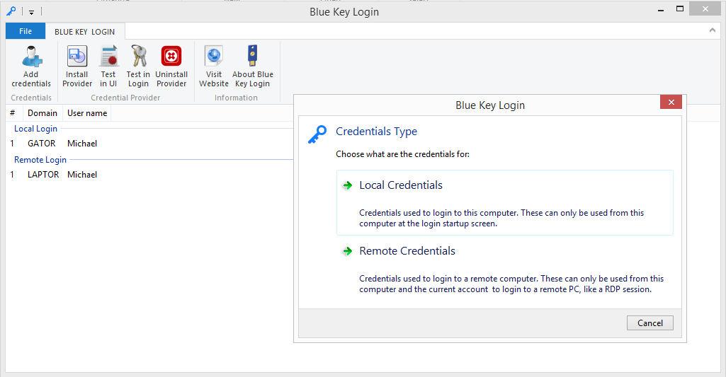 Blue Key Login - Login by plugging your U2F FIDO Yubico Key